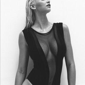 American apparel black mesh body suit